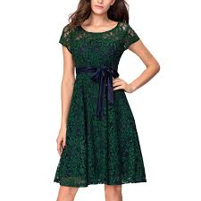 women u0027s emerald green lace bow tie cocktail casual tea party dress
