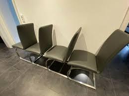 stühle fürs esszimmer schwingstühle kunstleder grau
