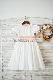 Princessly K1003587 Vintage Ivory Cotton Short Sleeves Wedding Flower Girl Dress With
