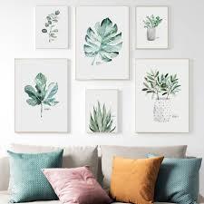 monstera deliciosa pteridium abb blätter aquarell anlage blätter dekorative malerei wohnzimmer hintergrund wand malerei wandbild