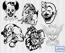 Creepy Clown Pumpkin Stencils by Scary Clowns Clip Art 30