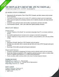 Functional Resume Samples Fast Food Manager Examples For
