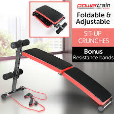 Gymax Adjustable Incline Weight Bench Curved Sit Up Bench Board Full Body Gym Weight Benches WSpeed Ball Pull Ropes