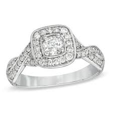 5 8 CT T W Diamond Twist Square Frame Engagement Ring in Sterling