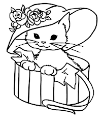 Cute Kitty Cat With A Fancy Hat Coloring Page