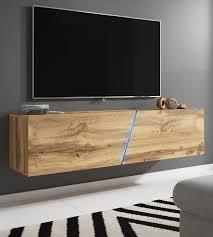 tv lowboard space in wotan eiche dekor tv unterteil hängend stehend 160 cm mit led