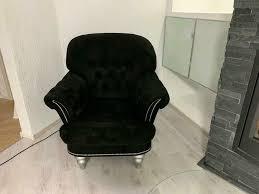 sessel wohnzimmer barock schwarz silber
