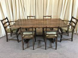 Furniture Antique Dining Table Chairs Oak Refectory Ladder ...