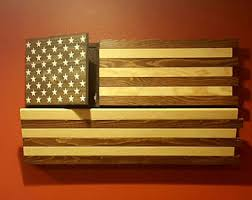 Rustic American Flag Gun Concealment Cabinet DUAL LOCKING DOORS Functional Stained Patriotic Art