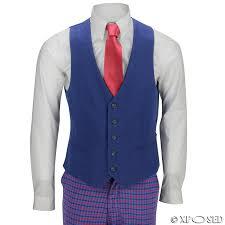 Mens Vintage 3 Piece Suit Red On Blue Plaid Tartan Check Slim Fit Retro Jacket