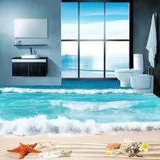 großhandel benutzerdefinierte 3d photo boden tapete badezimmer wohnzimmer boden murals wasserdicht verdickte selbstklebende tapeten shell