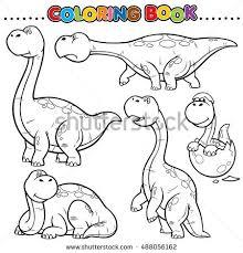 Vector Illustration Cartoon Dinosaur Coloring Book Stock