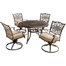 Martha Living Patio Furniture Cushions by Traditions 5 Piece Dining Set With Four Swivel Chairs And 48 In