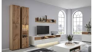 interliving wohnzimmer serie 2102 wohnkombination 510804s mit beleuchtung helles asteiche furnier weißer mattlack vi