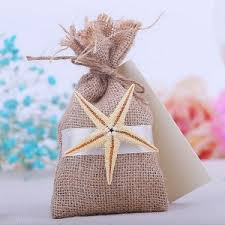 Burlap Wedding Favor Bags With Starfish And Band EWFB164