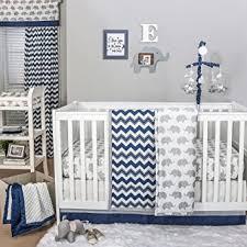 Amazon Navy Chevron and Grey Elephant 4 Piece Baby Crib