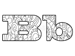 Download Anti Coloring Book Alphabet The Letter B Vector Illustration Stock