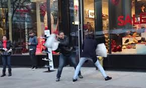 Pillow fight prank in NYC VIDEO Funny BOOMSbeat