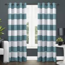 alston 50 x96 ivory blue striped curtain panel crate and barrel