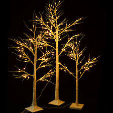 Christmas Xmas White Birch Snow Tree LED Light Warm Decorative Party Festival