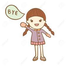 Girl Saying Goodbye Clipart