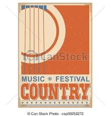 Country Music Festival Background With Textvector Old Poster Acoustic Guitar For Text