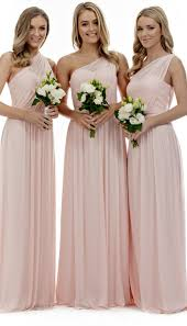 a line one shoulder sleeveless pleated long chiffon bridesmaid