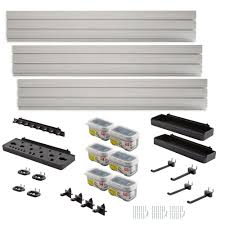 Rubbermaid Shed Wall Anchors Home Depot by Rubbermaid Fasttrack Garage Wall Panel Starter Kit 23 Piece