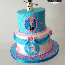 Pink and Blue Disney Frozen Cake