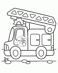 Cartoon Fire Truck Coloring Page For Preschoolers, Transportation ...