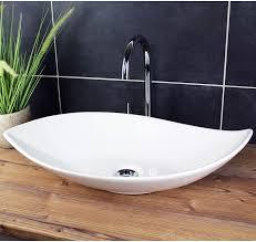 design waschbecken aufsatzwaschbecken 66 5 x 40 cm länglich weiß waschschale modern keramik