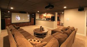 contemporary home theater with l shaped kitchen by rick donna