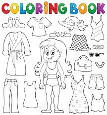 Coloring Book Girl With Clothes Theme Stock Vector