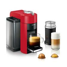 NespressoR By DeLonghi Evoluo Coffee Espresso Machine Bundle With Aeroccino Frother In Red