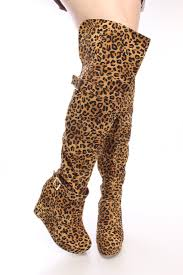 leopard print knee high wedge boots faux suede