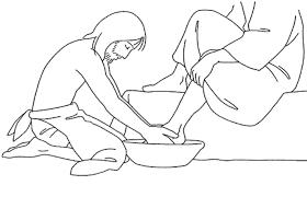 Holy Thursday Washing The Disciples Feet Catholic Coloring Page