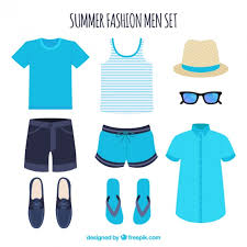 Set Of Summer Clothes For Man Free Vector