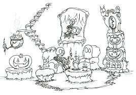 Coloring Page A Skeleton And Ghost Relaxing In Haunted House