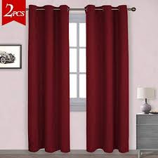 NICETOWN Home Decorations Thermal Insulated Solid Grommet Top Blackout Living Room Curtains Drapes For Winter One Pair42 X 84 InchRed