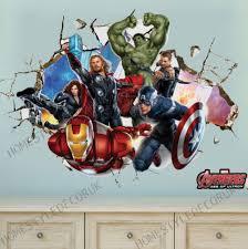 avengers super hero wall stickers crack decal kids room decor