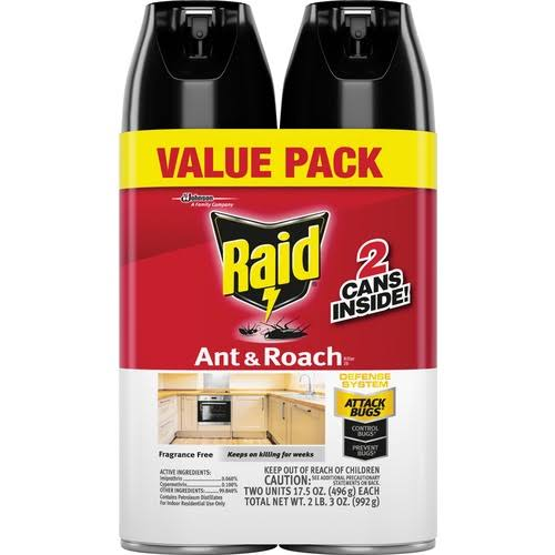 SC Johnson Raid Ant and Roach Killer Spray - Fragrance Free, 17.5oz, 2ct