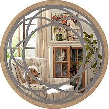 eono by amzon rustikale rund wandspiegel groß mit holzmaserung spiegel für wohnzimmer schlafzimmer 76 x 3 x 76 cm