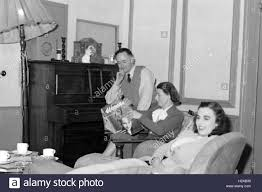Typical Family Living Room C1950 Mother Is Reading