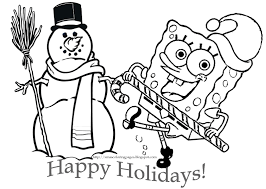 Spongebob SquarePants Christmas Santa Patrick Coloring Page