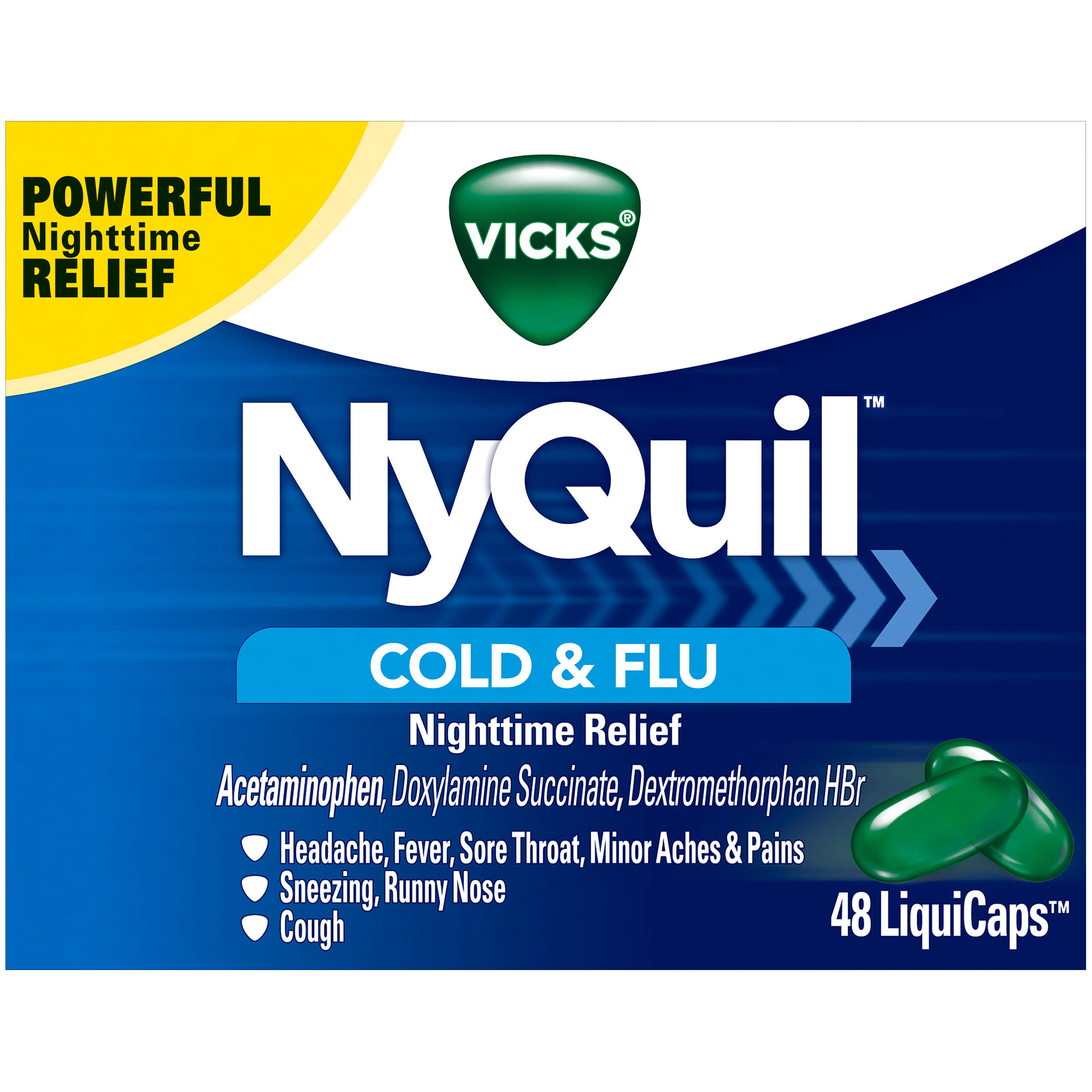 Vicks NyQuil Cold and Flu Nighttime Relief LiquiCaps - 48pk