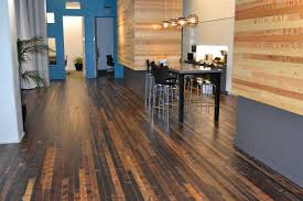 Rustic Hardwood Flooring Options With Grey Granite Countertop Black Acrylic Chairs Under Four Round Pendant