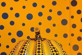 Yayoi Kusama Pumpkin Sculpture by Pattern Yayo Kusama Pumpkin Sculpture Bright Yellow Black Dots