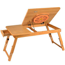 Lapdesk Foldable Laptop Bamboo Table Bed Tray Stand With USB