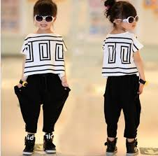 Big Girls Summer Sets Outfits Bat Sleeve Loose T Shirt Tops Black Harem Pants Kids Children Clothing Fashion Cute Casual Suits Tutu