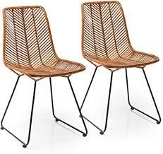 kare design stuhl ko lanta 2er set moderner bequemer esszimmerstuhl im rattan design braun h b t 85 7x44 5x54 6cm